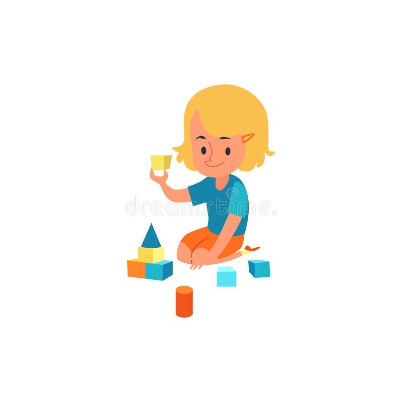 Glückliches Kind, das Spaß mit bunten Blöcken haben, wenig Mädchen, das Entwicklung des Kindes und Ausbildungstätigkeit tut vektor abbildung