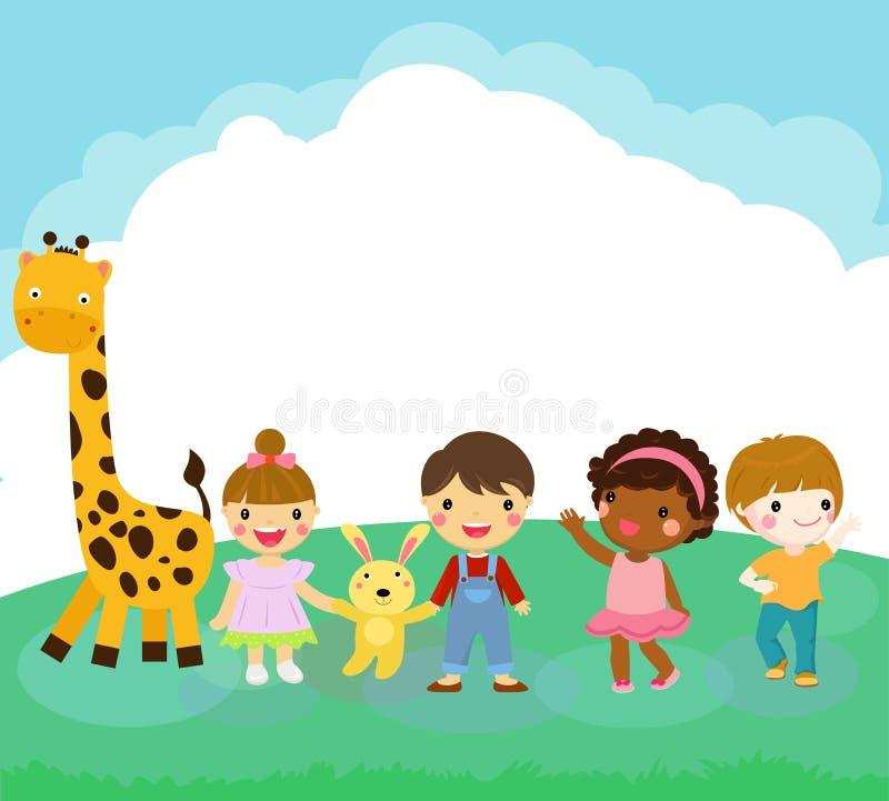 Glückliches Kind und Tier der Karikatur lizenzfreie abbildung