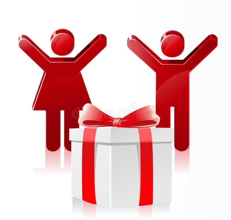 Download Glückliches Kind-Weihnachtsgeschenk Vektor Abbildung - Illustration von glück, klaus: 27729344