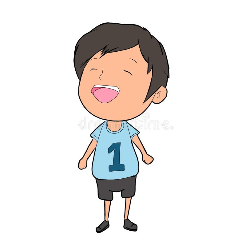 Glückliches Kinderillustrations-Blauhemd stockfotos
