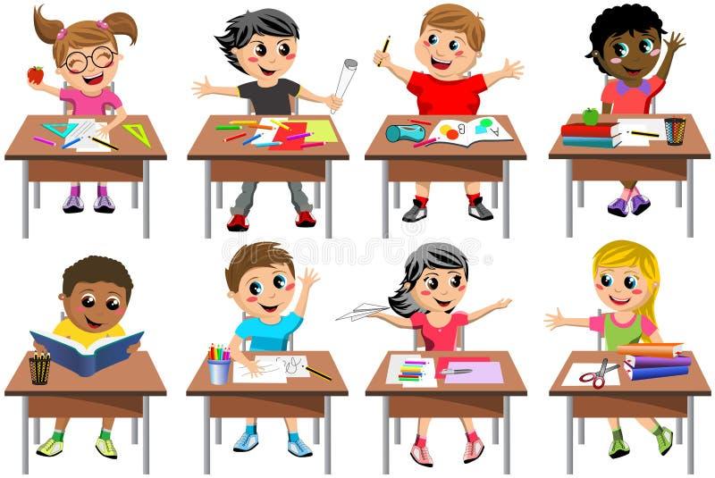 Glückliches Kinderkinderschreibtisch-Schulklassenzimmer lokalisiert lizenzfreie abbildung