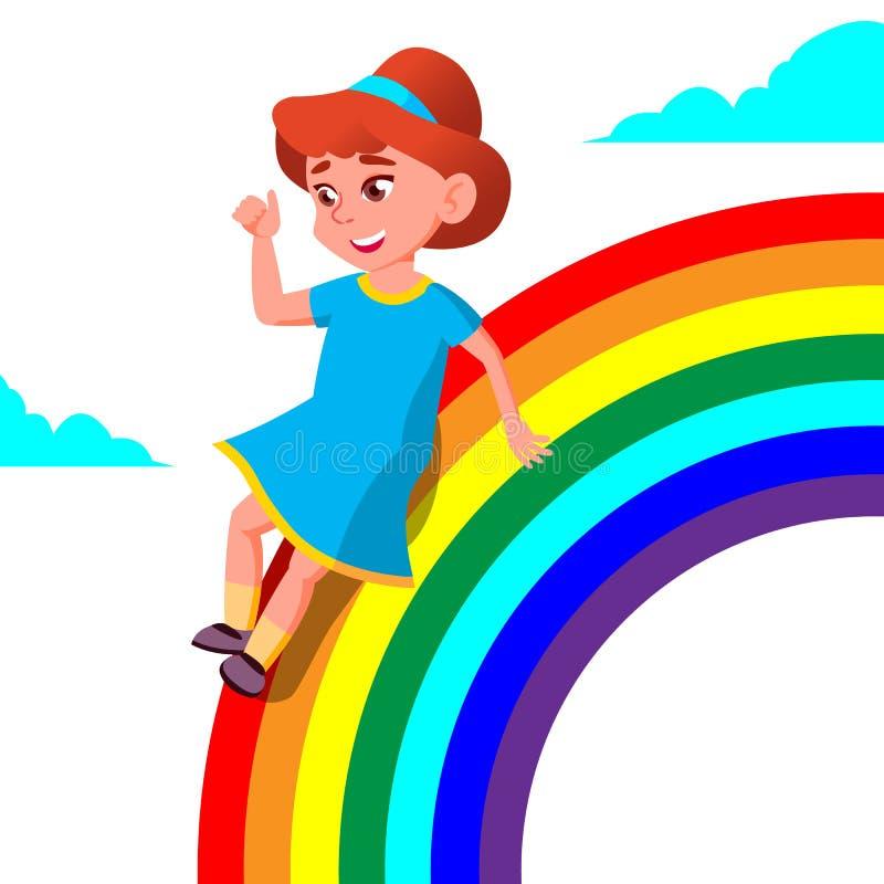 Glückliches Kindermädchen, das unten den Regenbogen-Vektor rollt Abbildung lizenzfreie abbildung