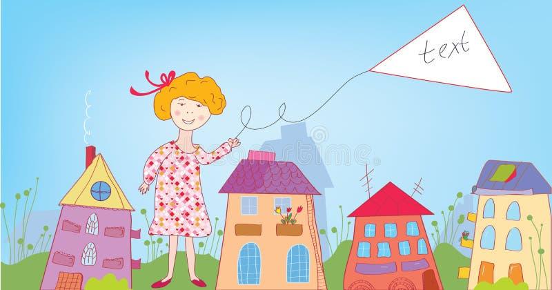 Glückliches Kindermädchen in der Stadt mit Fahne lizenzfreie abbildung