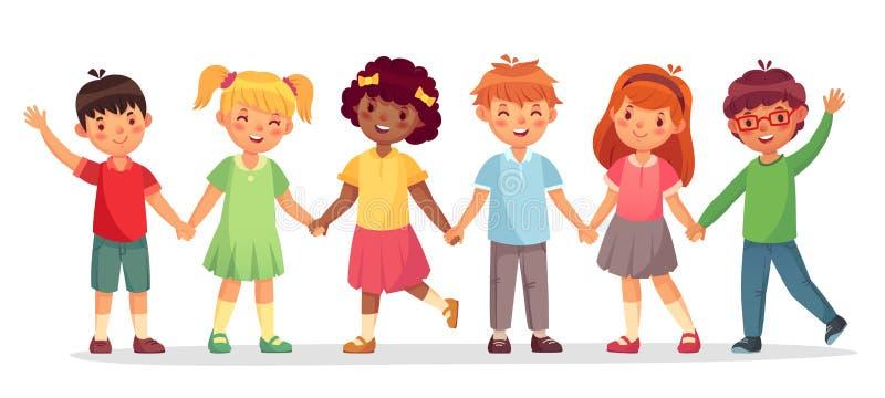 Glückliches Kinderteam Der multinationalen Kinder, die Schulmädchen und die Jungen stehen zusammen Händchenhalten lokalisierten V stock abbildung
