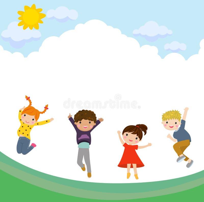 Glückliches Kindspringen stock abbildung