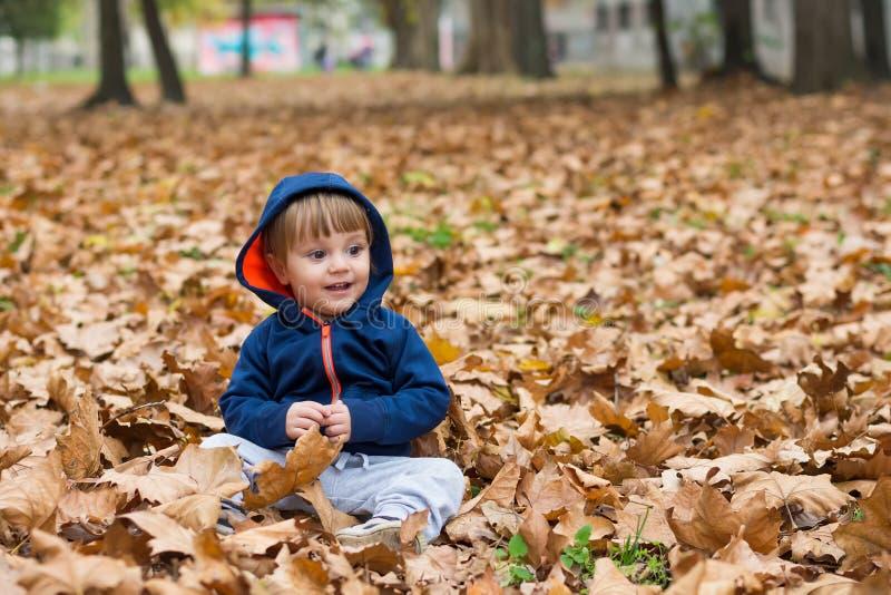 Glückliches kleines Kind, Baby, das im Herbst lacht und spielt stockfotos
