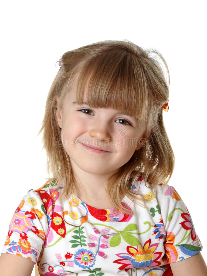 Glückliches kleines Mädchen auf Weiß lizenzfreie stockfotografie