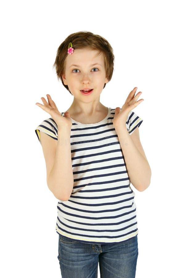 Glückliches kleines Mädchen lokalisiert über weißem Hintergrund stockfoto