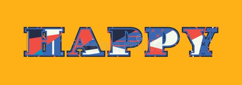 Glückliches Konzept-Wort Art Illustration lizenzfreie abbildung