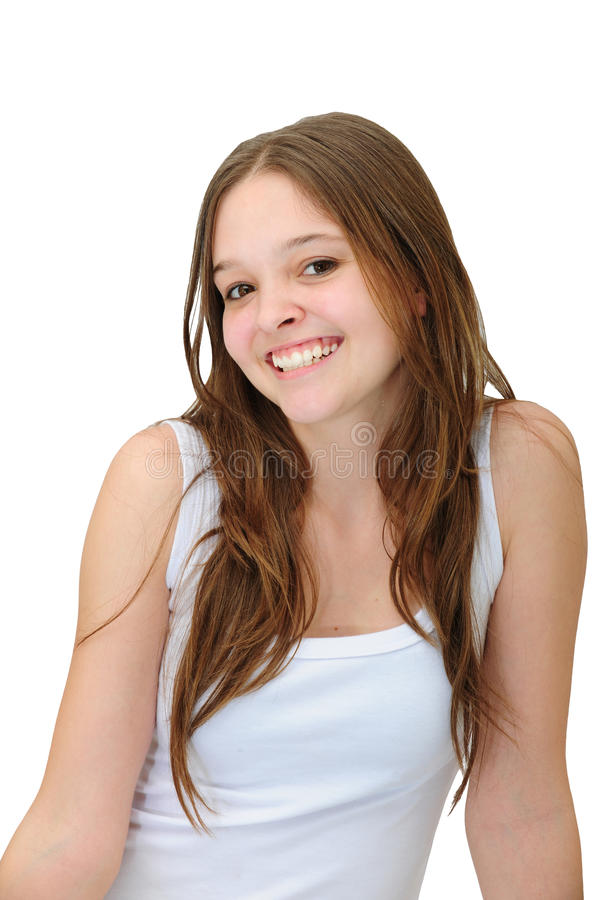 Glückliches Lächeln der jungen Frau lizenzfreies stockbild