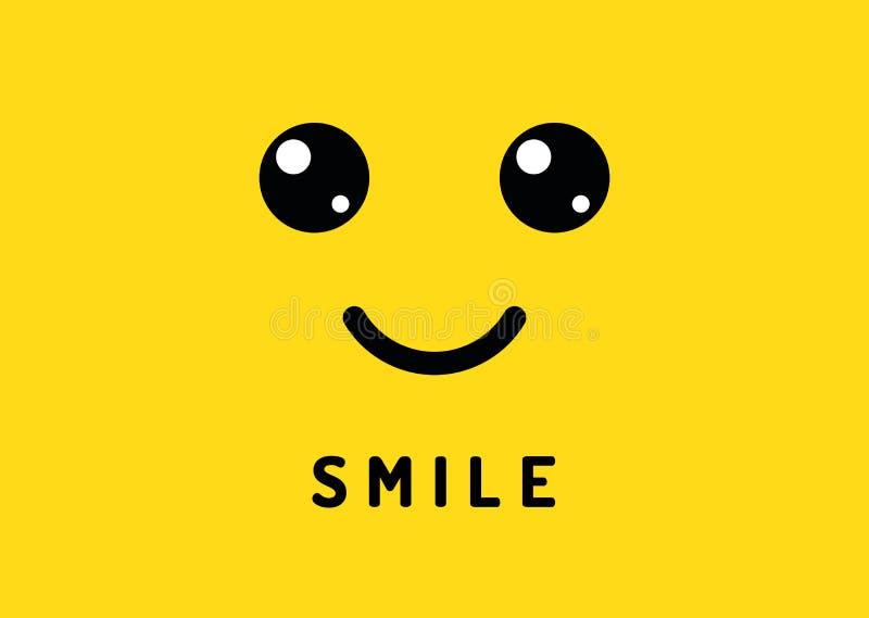Glückliches Lächeln Lächelndes Gesicht auf gelbem Hintergrund Gelächterlogo, lustige Vektorfahne vektor abbildung