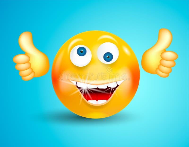 Glückliches Lächeln mit weißem glänzendem Zähne Emoticon oder rundem Gesicht oben oder, die O.K. Daumen auf hellem blauem Hinterg vektor abbildung