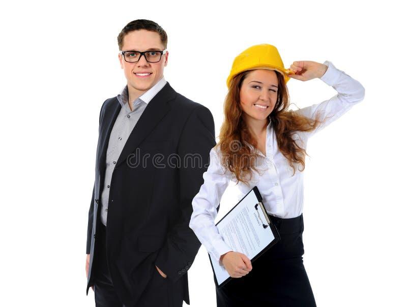 Glückliches lächelndes Geschäftsteam stockfotos