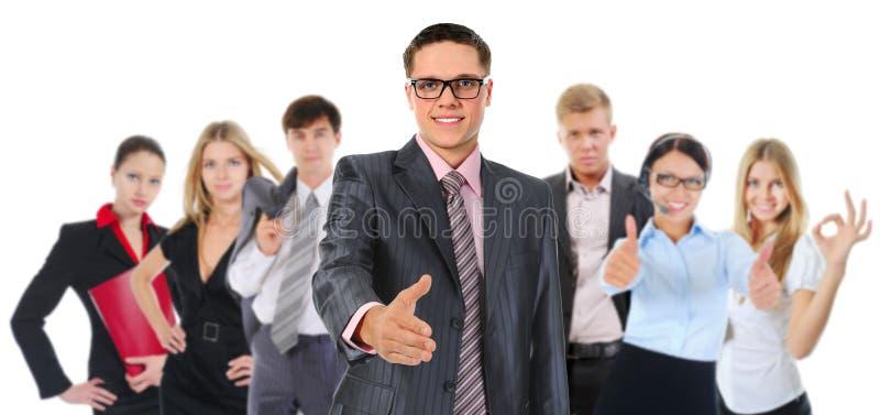 Glückliches lächelndes Geschäftsteam stockbilder