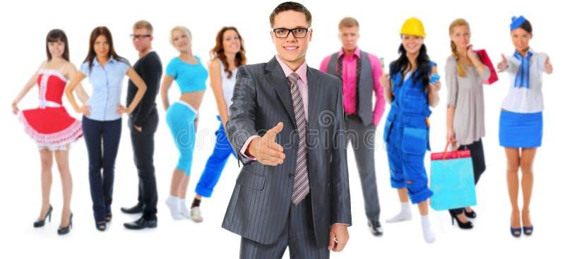 Glückliches lächelndes Geschäftsteam stockbild