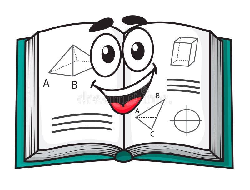 Glückliches lächelndes Karikaturschullehrbuch stock abbildung