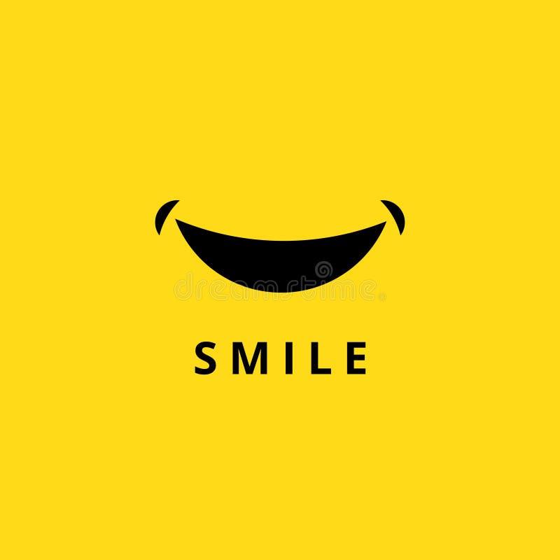 Glückliches Lächelngekritzel Lustiger lächelnder Mund lokalisiert auf gelbem Hintergrund Karikatur lächelt Logovektorikone stock abbildung
