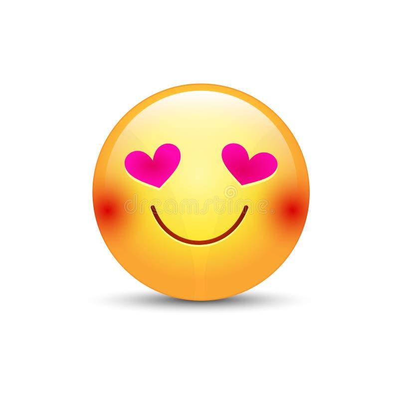 Glückliches liebevolles Emoticongesicht mit Augen in Form von Herzen Karikaturvektor emoji in der Liebe mit Lächeln lizenzfreie abbildung
