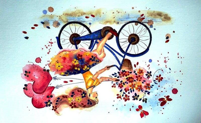 Glückliches Mädchen auf einem Fahrrad, Aquarelltechnik lizenzfreies stockfoto