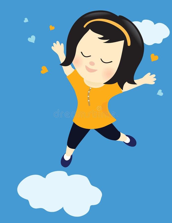 Glückliches Mädchen auf Wolke neun stock abbildung