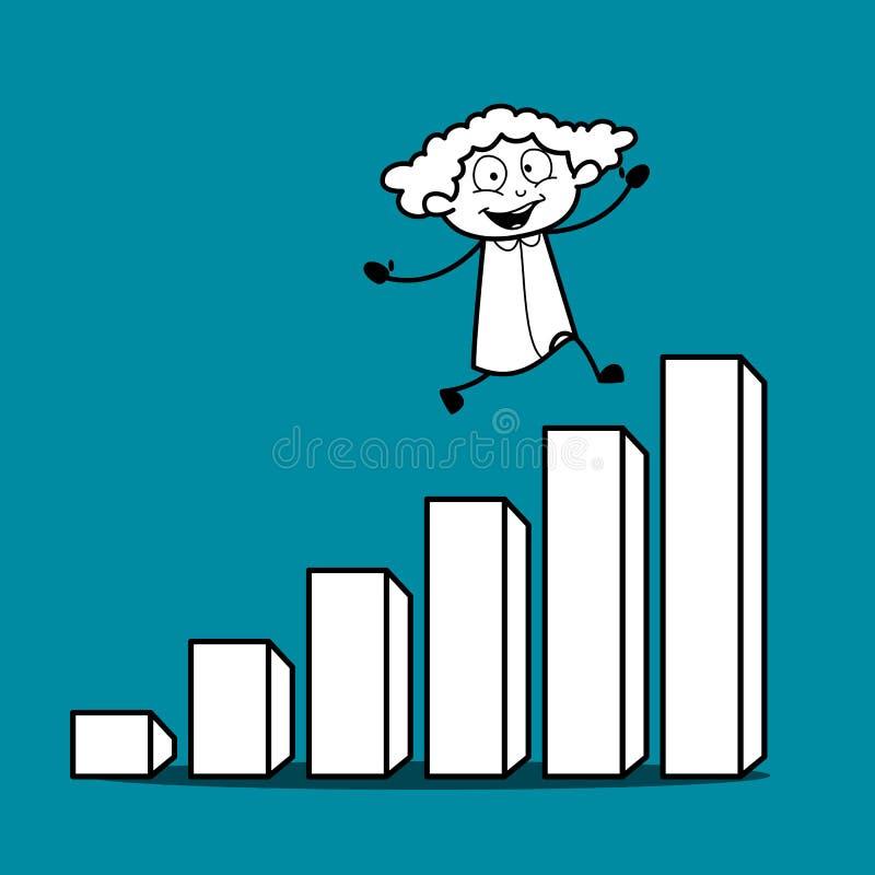 Glückliches Mädchen, das auf Erfolgs-Diagramm wächst vektor abbildung