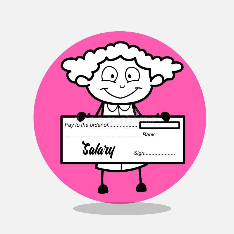 Glückliches Mädchen, das Gehalts-Scheck zeigt vektor abbildung