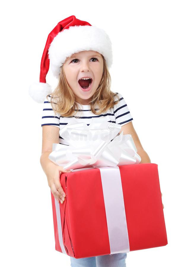 Glückliches Mädchen, das Geschenkbox hält lizenzfreie stockfotos