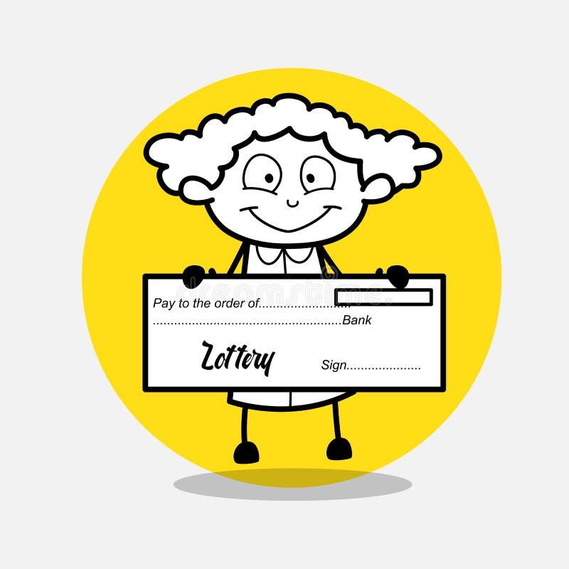 Glückliches Mädchen, das Lotterie-Scheck zeigt stock abbildung