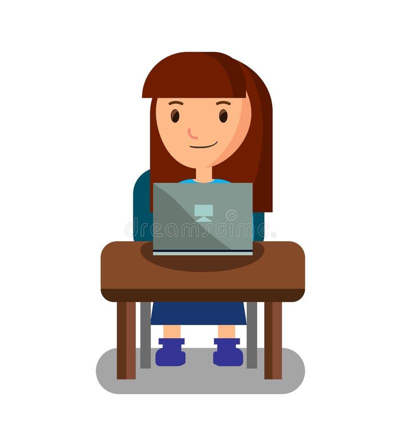Glückliches Mädchen, das nach Ausbildung auf Laptop sucht stock abbildung