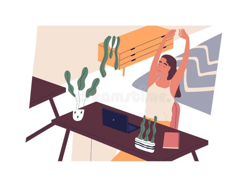 Glückliches Mädchen, das am Schreibtisch mit Computer und dem Ausdehnen sitzt Lächelnder Frauenangestellter oder -sekretär am Arb vektor abbildung