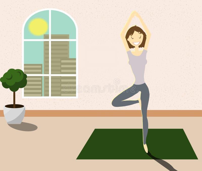 Glückliches Mädchen in der Yogahaltung Vektor lizenzfreies stockfoto