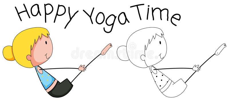 Glückliches Mädchen des Gekritzels, das Yoga tut vektor abbildung