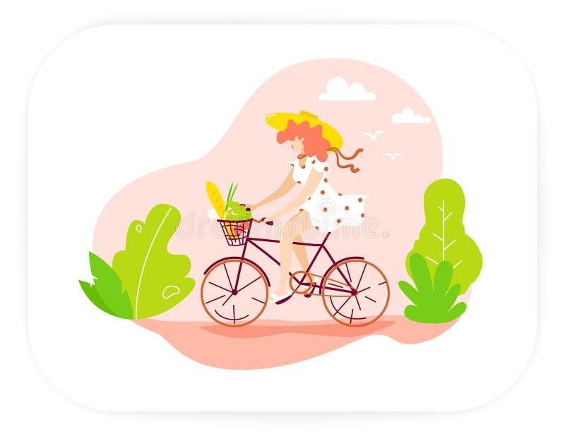 Glückliches Mädchen in einem Hut und in den sundress fährt Fahrrad in der Natur ENV-Datei ist vorhanden stock abbildung