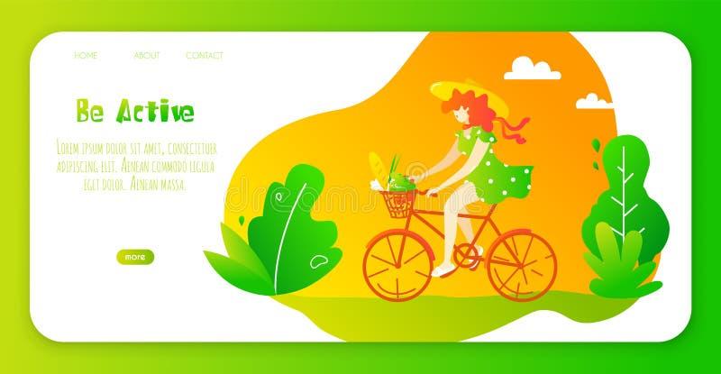 Glückliches Mädchen in einem Hut und in den sundress fährt Fahrrad im Park Vektorwebseitenschablone Blumenrasen mit Marienk?fern  vektor abbildung