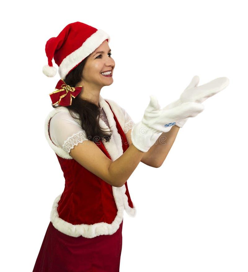Glückliches Mädchen im Sankt-Kostüm stockbild