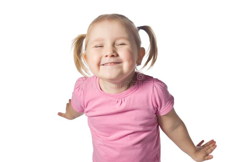 Glückliches Mädchen im Studio stockfotografie