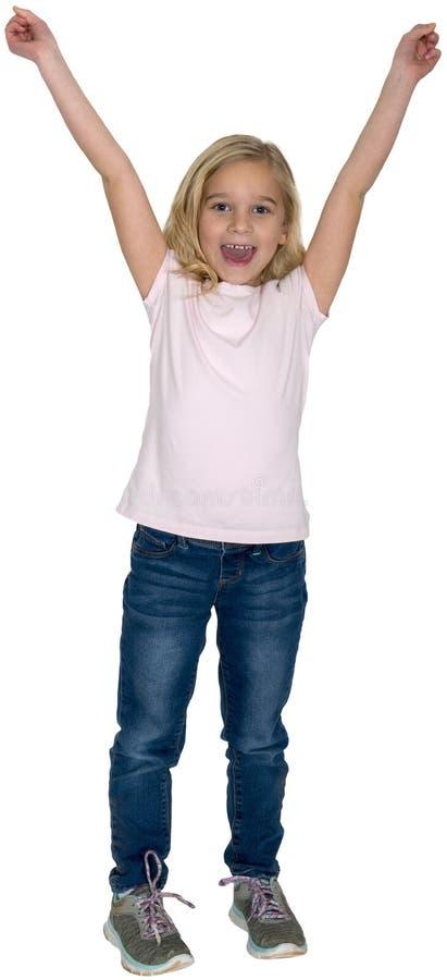Glückliches Mädchen, jubelnd zu, aufgeregt, lokalisiert und lächeln lizenzfreie stockfotos