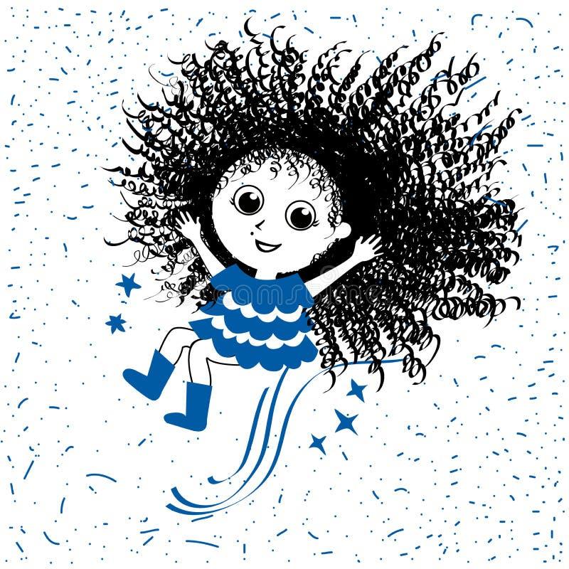 Glückliches Mädchen Kritzeln Sie gezeichnete Illustration der Art Hand, Vektorlinie Kunst stock abbildung