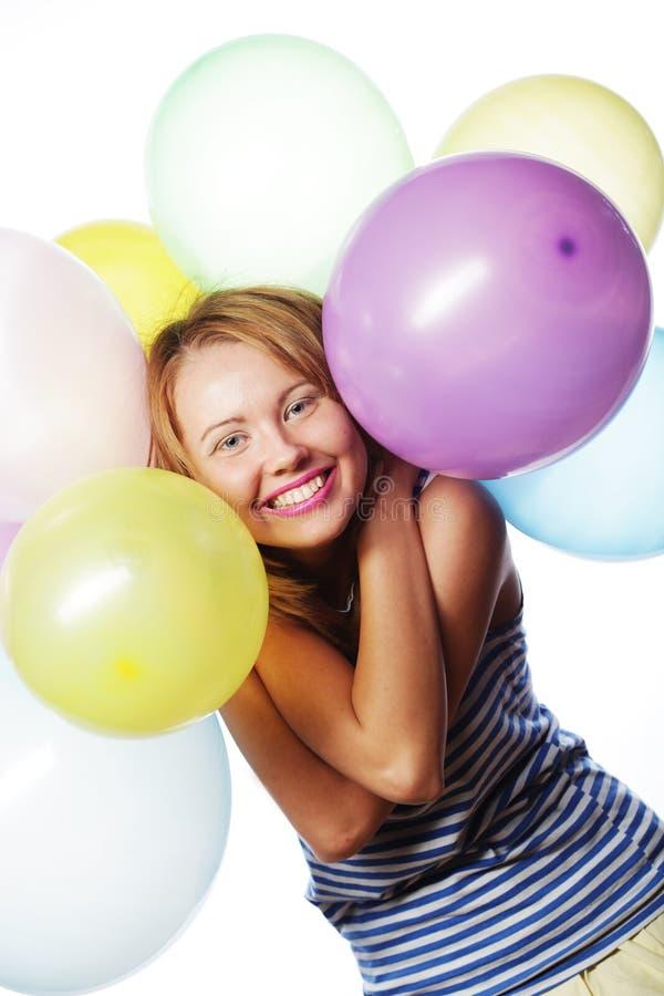 Glückliches Mädchen mit Ballonen lizenzfreies stockfoto