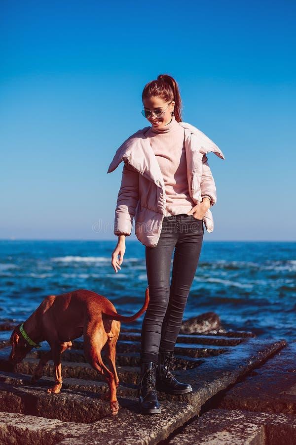 Glückliches Mädchen mit einem Hund in dem Meer stockfotografie