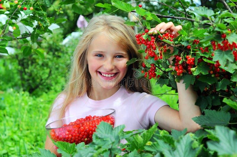 Glückliches Mädchen mit roter Johannisbeere lizenzfreie stockfotografie