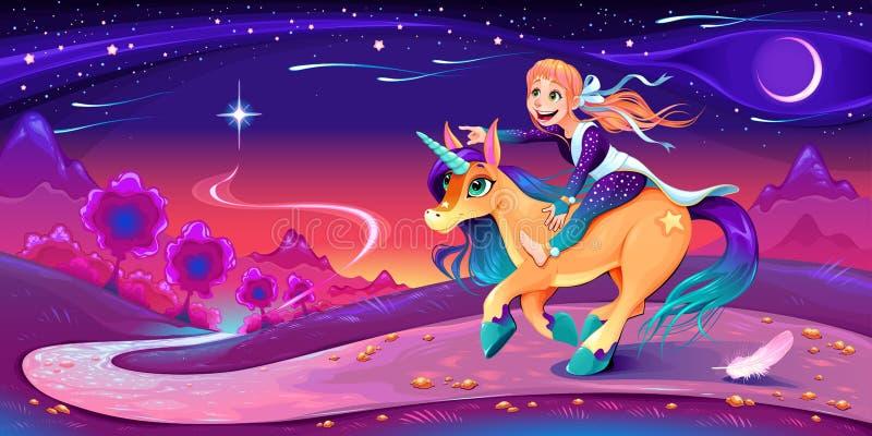 Glückliches Mädchen reitet das Einhorn, das ihrem Stern folgt stock abbildung