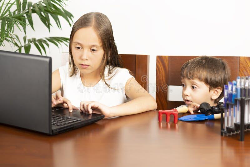 Gl?ckliches M?dchen und Junge, der Laptop verwendet stockbilder