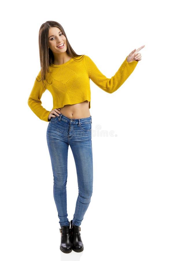 Glückliches Mädchenzeigen lizenzfreie stockfotografie