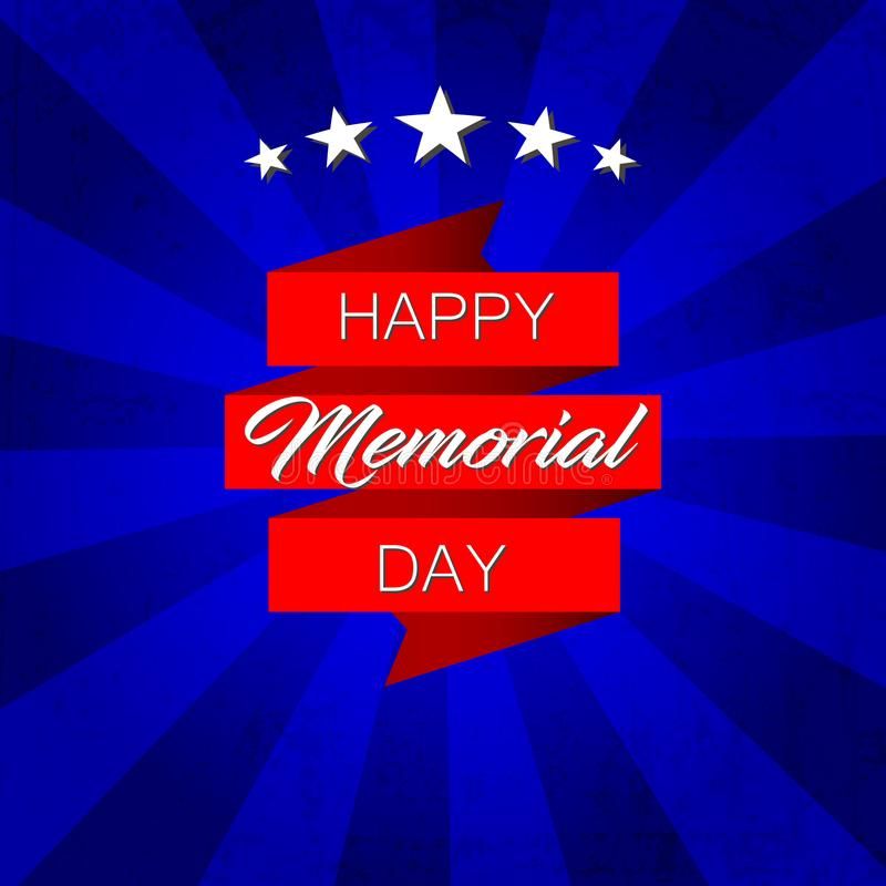 Glückliches Memorial Day! Vektorillustration auf blauem Hintergrund vektor abbildung