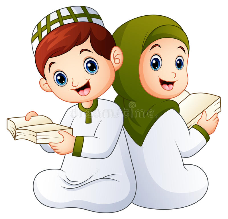 Glückliches moslemisches Kind, das Quran hält stockfotos