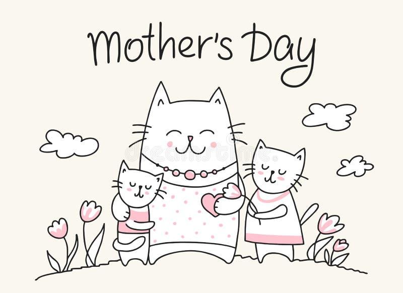 Glückliches Mutter-Tag-crad mit Katzenmutter und kleinen Miezekatzen Flache Vektor Mutter ` s Tagestierillustration lizenzfreie abbildung
