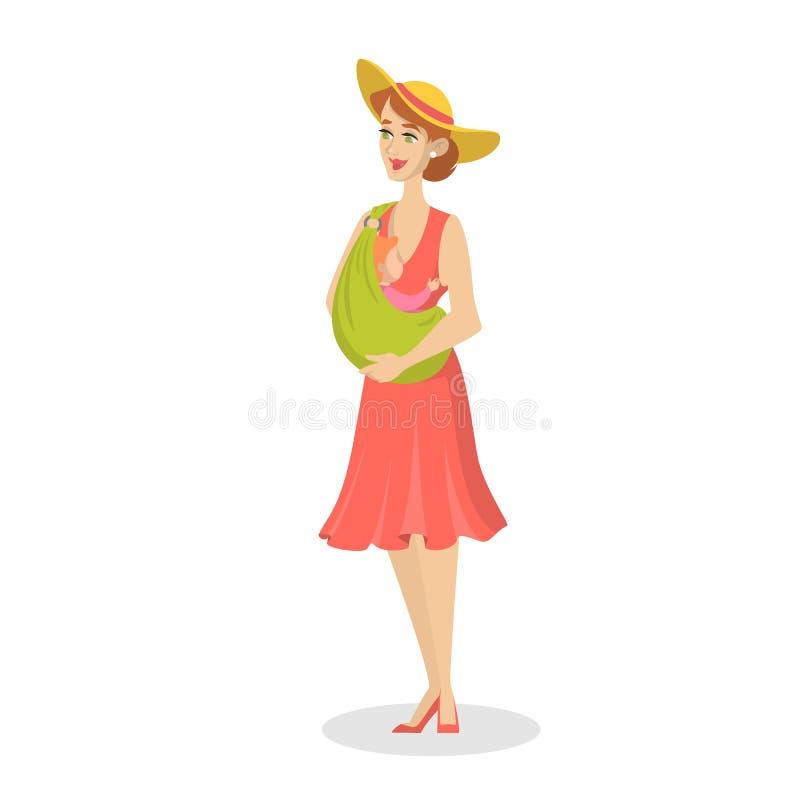 Glückliches Mutterholdingbaby in einem Riemen Junge Mamma stock abbildung