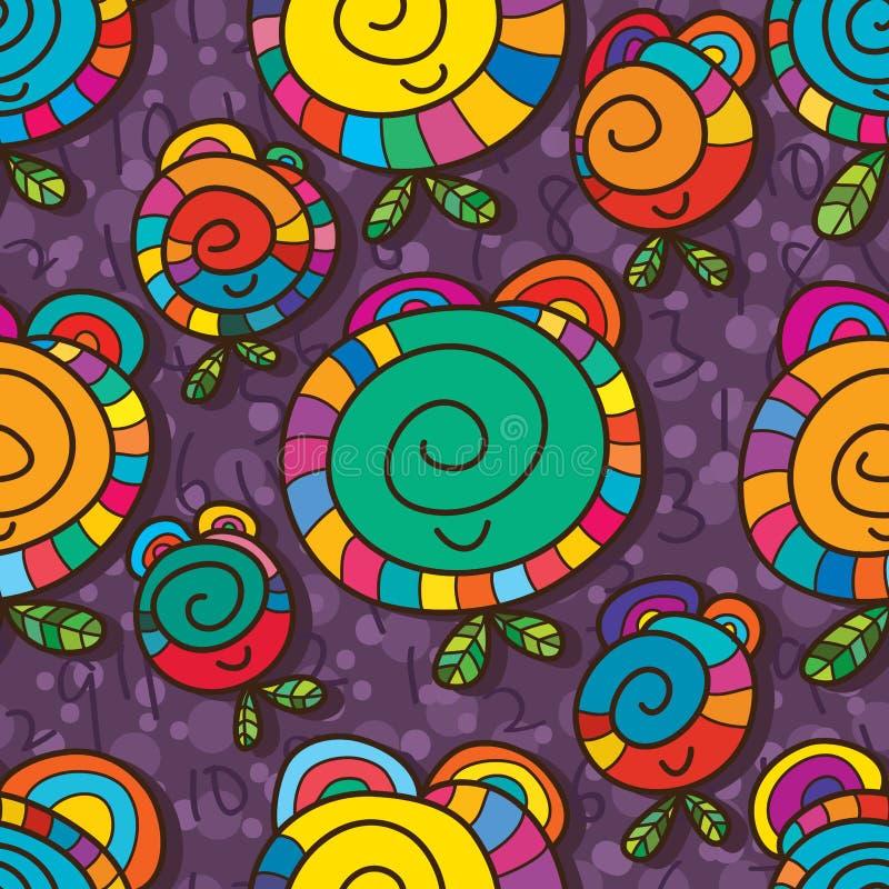 Glückliches 24 nahtloses Muster der Stunde der Lächelnblumenuhr stock abbildung