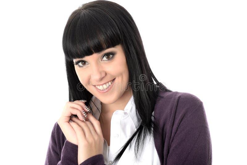 Glückliches nettes entspanntes erfreutes Frauen-Lächeln stockfotografie